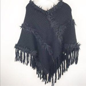 Marc NY Shawl Back Faux Fur Details Knit OS Fringe
